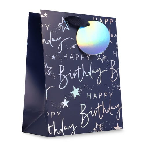 Plain Navy Happy Birthday - Medium Bag