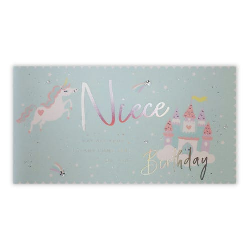 Unicorn Dream Castle Niece Birthday Card