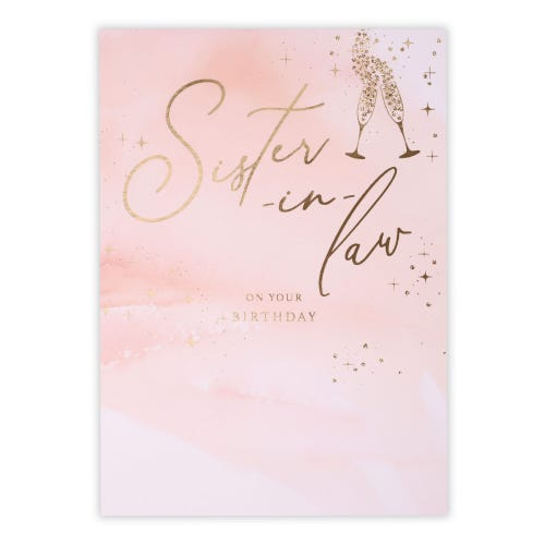 Toasting Flutes Sister-in-Law Birthday Card