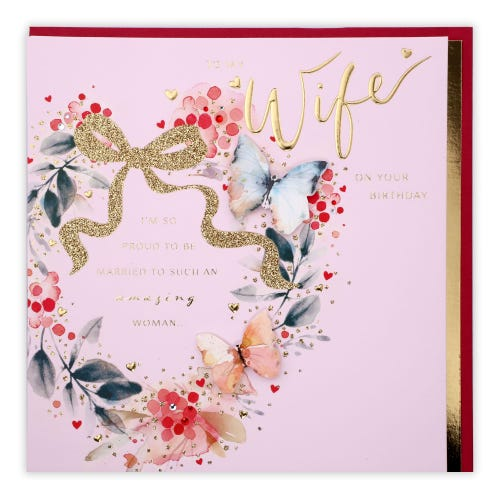 Butterfly Floral Heart Wreath Wife Birthday Card
