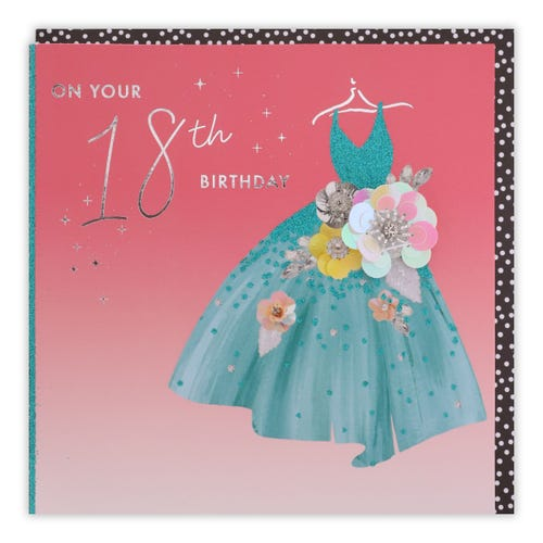 18th Birthday Teal Dress With Bling Flower Card