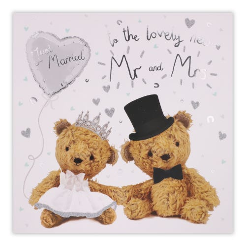Two Teddy's Just Married Wedding Card