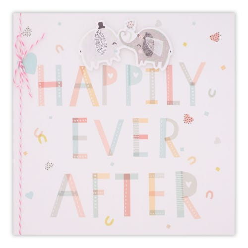 Elephants Happily Ever After Wedding Card