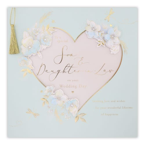 Big Cut Out Heart With Flowers Wedding Son & Daughter-In-Law Card