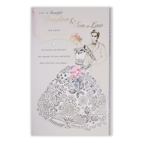 Figurative Couple With Cut Out Dress Wedding Son & Daughter-In-Law Card