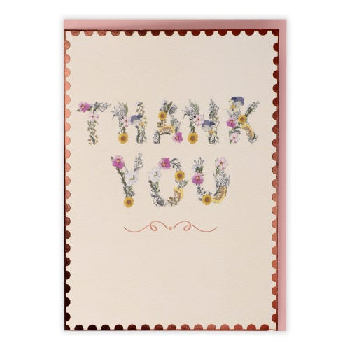 Floral Writing Thank You Cards, Pack of 5