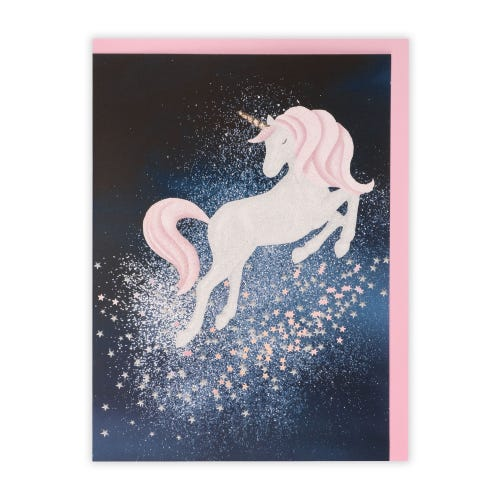 Unicorn On Navy Blank Cards, Pack of 5