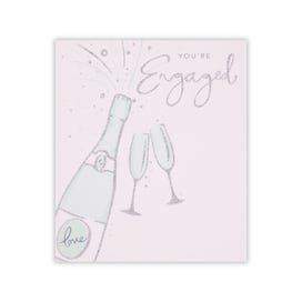 Champagne Popping And Glasses Engagement Card