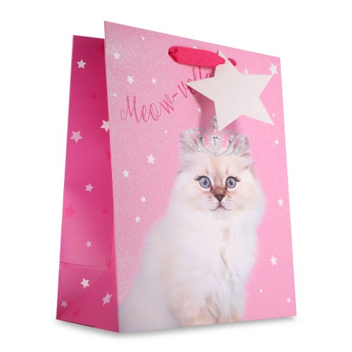 Photographic Crown Cat Large Gift Bag