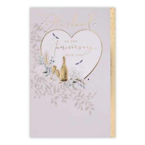Heart with Champagne Husband Anniversary Card