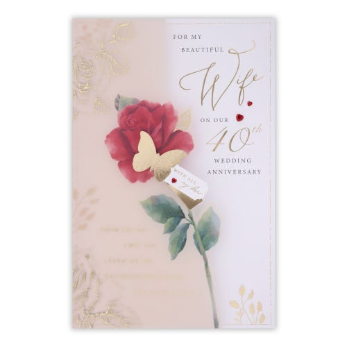 Wife 40th Anniversary Card