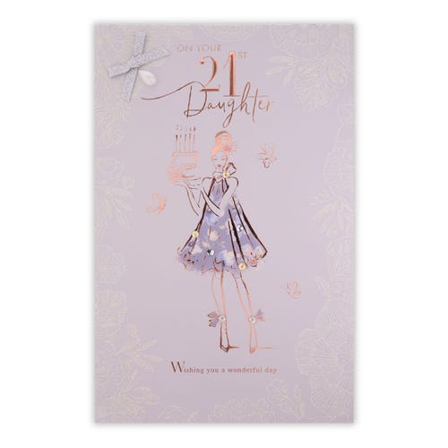 Daughter 21st Birthday Figurative Girl With Cake Card