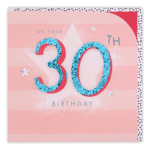 30th Birthday Blue Flitter Text On Pink Card