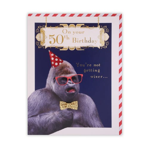 50th Birthday Photographic Fun Ape Card