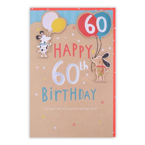 60th Birthday Dogs Holding Balloons Card