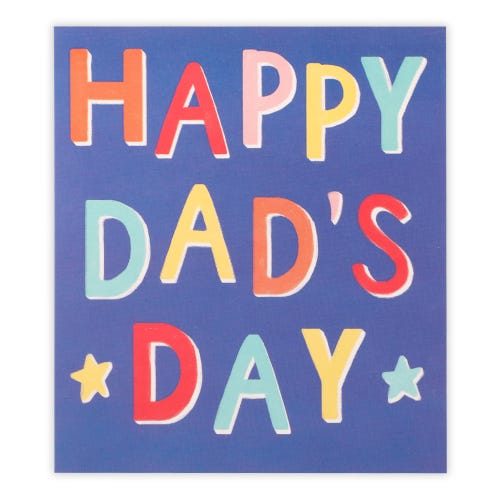 Father's Day Multi Colour Text On Blue Card