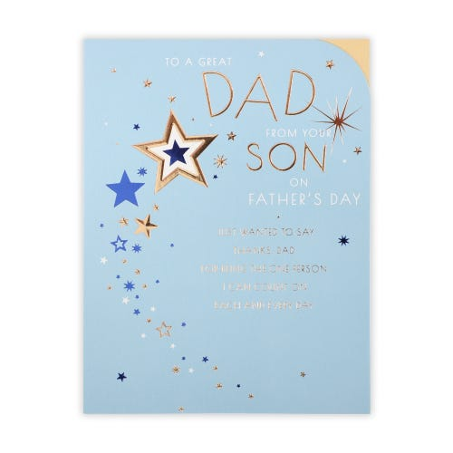 Father's Day Stars On Teal  Card