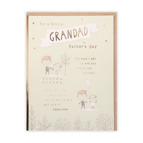 Father's Day Sketch Characters On Green  Card