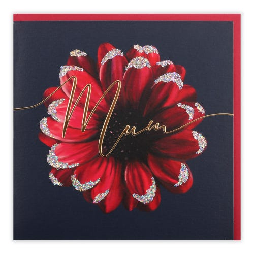 Painted Red Gerbera Mum Birthday Card