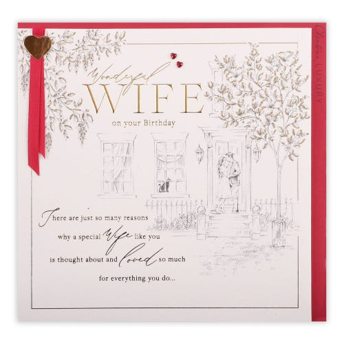 Pencil Scene Couple and House Wife Birthday Card