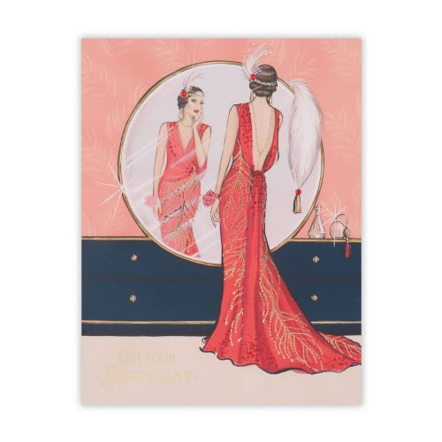 Roaring 20's Lady In Red Looking In Mirror