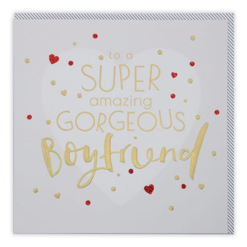 Boyfriend Gold Type & Large Heart Birthday Card