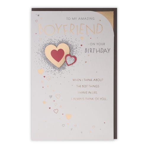 Boyfriend Sentiment With Red & Gold Hearts Birthday Card