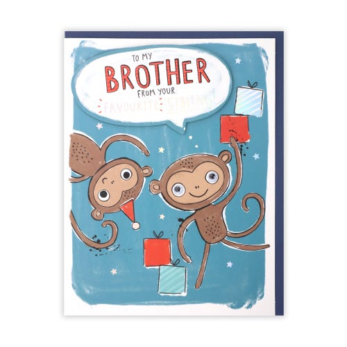 Brother Monkey Siblings Birthday Card