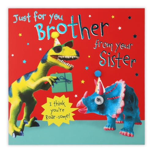 Brother From Sister Party Dinosaurs Birthday Card