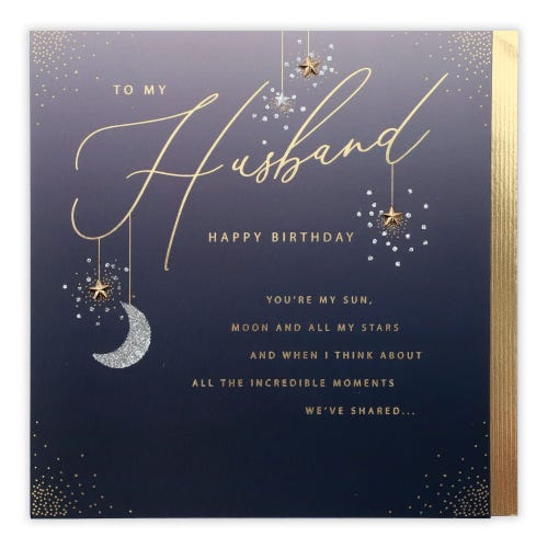 Husband Hanging Stars & Moon From Text Birthday Card