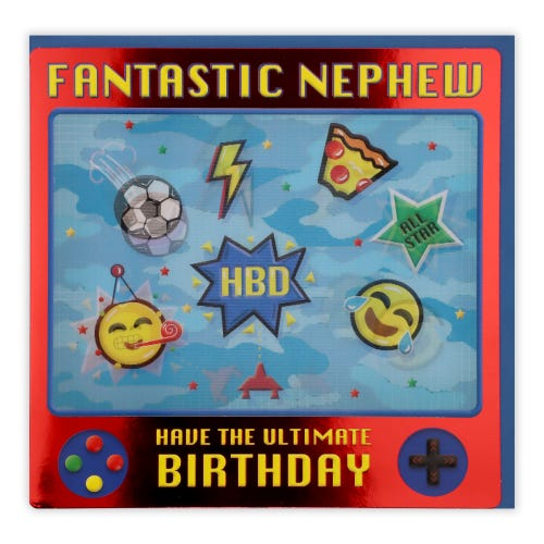 Nephew Lenticular Games Birthday Card