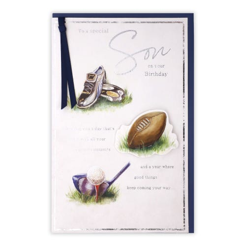 Son Sport Icons Birthday Card