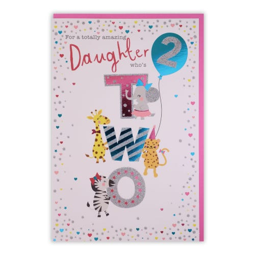Daughter 2nd Birthday Cute Animal Characters Card