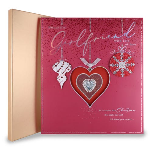 Girlfriend Hanging Icons On Red B/G Christmas Boxed Card