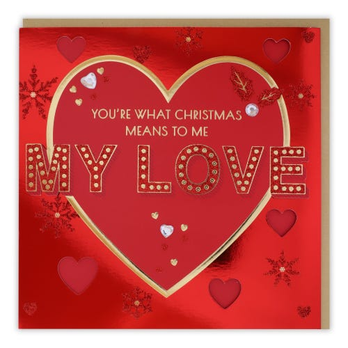 Decorative Lettering One I Love Christmas Card