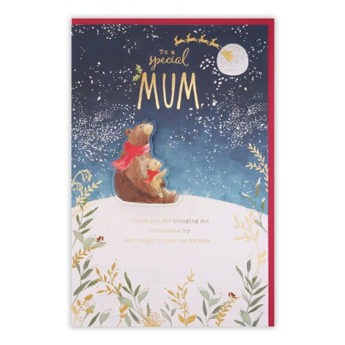 Bears On Snow Hill Top Mum Christmas Card