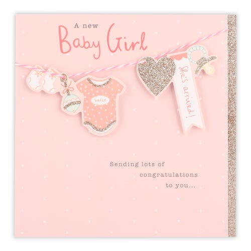Hanging Icons Baby Girl Card