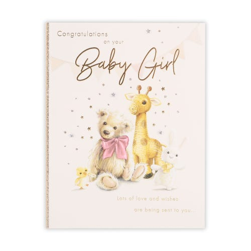 Knitted Sketchy Animals Baby Girl Card