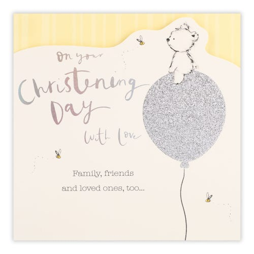 Sketchy Bear On Balloon Christening Card
