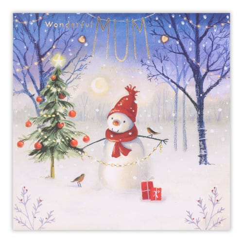 Snowman & Tree Scene Mum Christmas Card