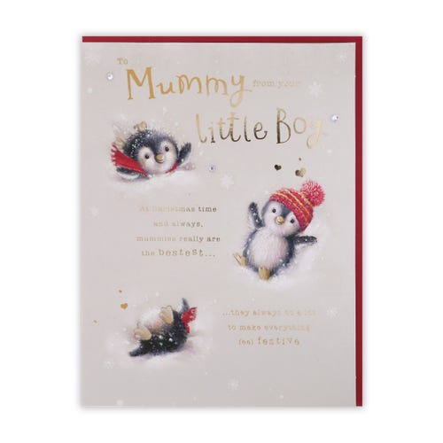 Playful Penguins Mummy From Son Christmas Card
