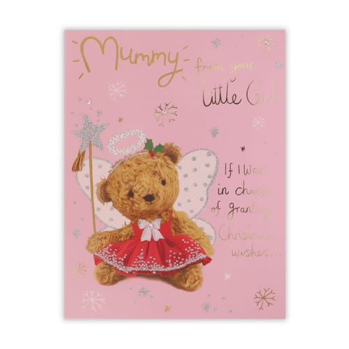 Tutu Teddy On Pink Mummy From Daughter Christmas Card