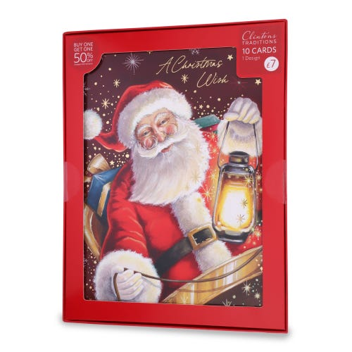 Traditional Santa Christmas Cards , Pack of 10, 1 Design