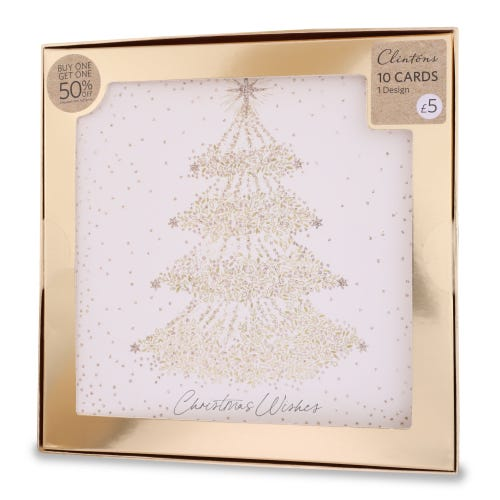 Clintons Luxury Decorative Tree Christmas Cards , Pack of 10, 1 Design