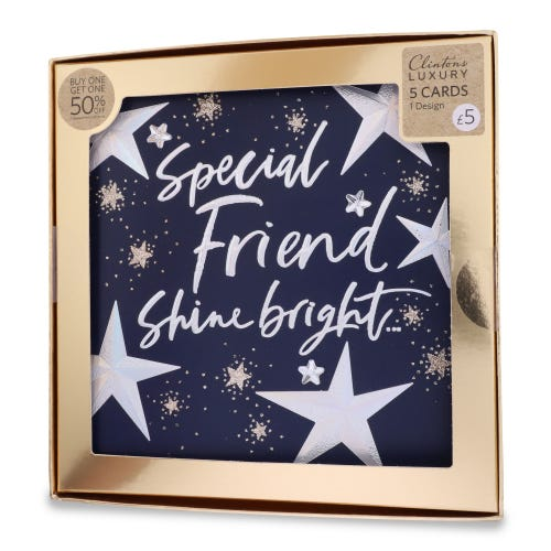 Clintons Luxury Friend Stars Christmas Cards , Pack of 5, 1 Design