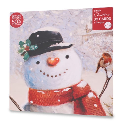 Traditional Christmas Cards , Pack of 30, 5 Designs