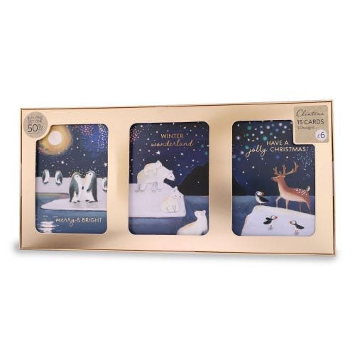 3 to View Contemporary Cute Christmas Cards , Pack of 15, 2 Designs