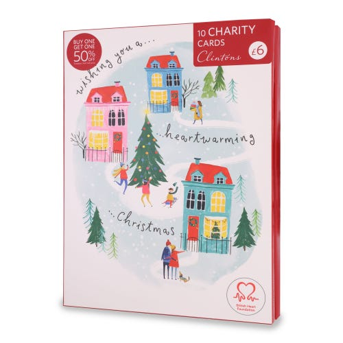 British Heart Foundation Christmas Charity Cards , Pack of 10, 2 Designs