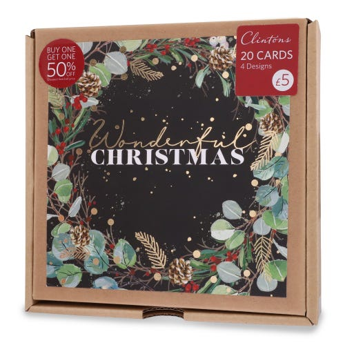 Corrugate Foliage Christmas Cards , Pack of 20, 4 Designs