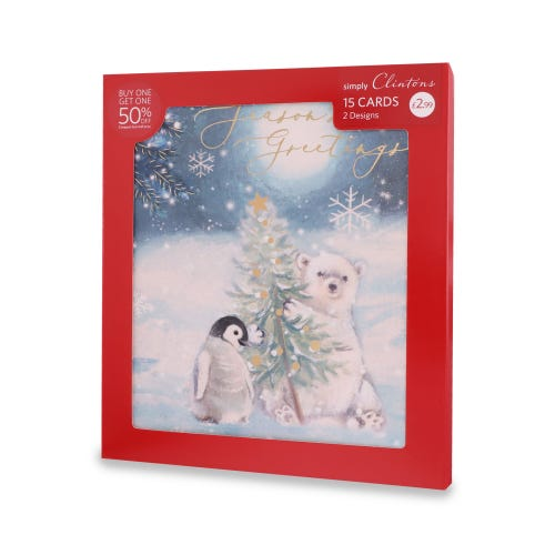 Simply Clintons Traditional Wildlife Christmas Cards , Pack of 15, 2 Designs
